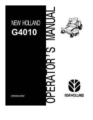 NEW HOLLAND G4010 Zero Radius Mower OPERATORS MANUAL for sale  Shipping to Canada