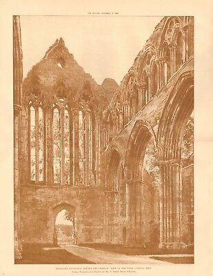 1893 ANTIQUE ARCHITECTURAL PRINT- CATHEDRAL-DUNBLANE, DRAWING BY PHENE SPIERS