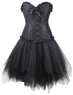 Corsagenkleid Corsage + Mini Rock Kleid Steampunk schwarz Gothic Wäschebeutel (Schwarze Steampunk Kleid)