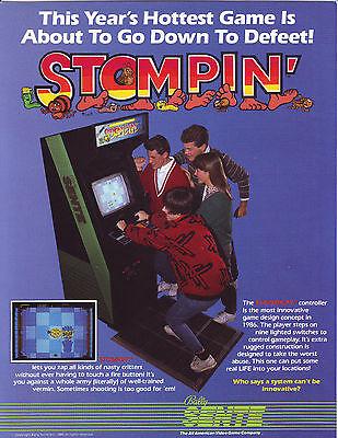 STOMPIN By BALLY SENTE 1986 ORIGINAL VIDEO ARCADE GAME SALES FLYER BROCHURE