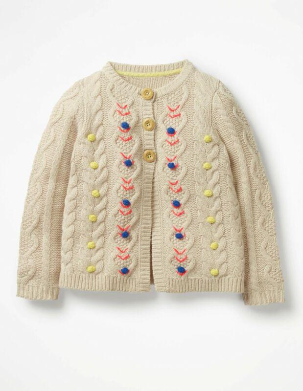 NWT 11/12 Mini Boden Chunky Knit Cardigan Girl Sweater