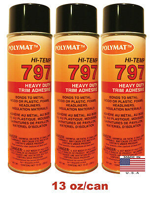 Qty3 Polymat 797 High-temp Adhesive Spray Glue Heat And Water Resistant 160f