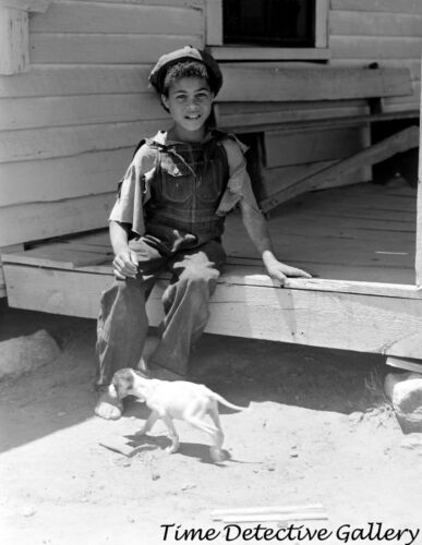 African American Boy and His Skinny Dog - 1941 - Vintage Photo Print