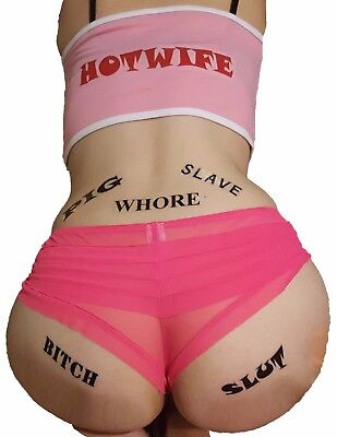 5 Pack Adult BDSM Temporary Tattoos PIG Whore Slut Bitch & SLAVE - Adult Temporary Tattoos