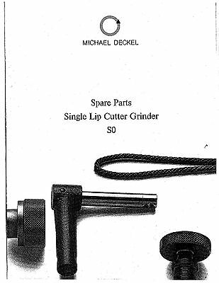Deckel So Single Lip Cutter Grinder Parts Manual