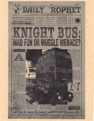 Harry Potter Daily Prophet Knight Bus Mad Fun Or Muggle Menace? Prop/Replica 🧹