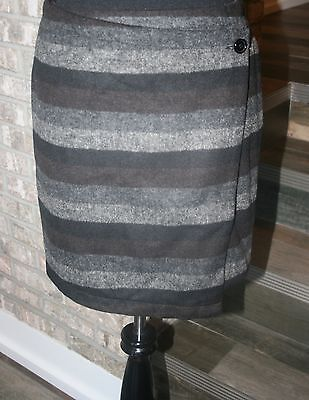 Tulle Womens Black Gray Brown Striped Asymmetrical Wrap Mini Skirt Lined SZ L (Gray Tulle)