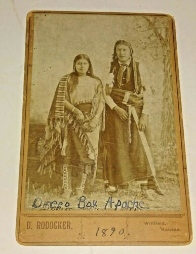 1880s Cabinet Image 2 Ceremonial Dressed APACHE Indians by Dave Rodocker