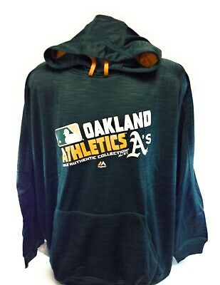 Mens Majestic Therma Base Oakland A's Athletics Fleece Pullover Baseball Hoodie Majestic Athletic Mens Pullover