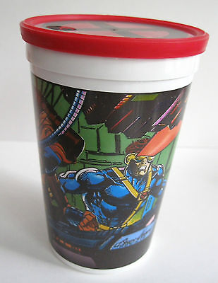 1993 Marvel Comics PIZZA HUT Promo Cup w/X-MEN Logo Lid Jean Grey Cyclops Bishop