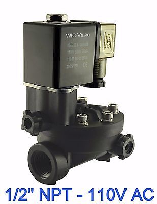 Electric Manual Override Pa66 Plastic Air Water Solenoid Valve 12 Inch 110v Ac