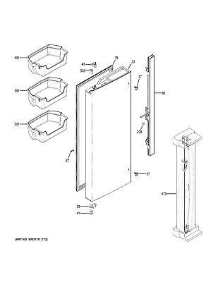 NEW OEM GE Refrigerator DOOR STOP WR02X24874