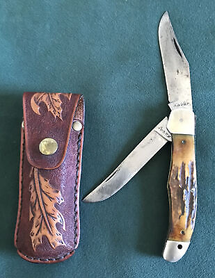 VINTAGE KABAR USA 1940'S-50'S OLD STAG HANDLE HUNTING FOLDING KNIFE RARE OS.