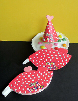24 x Hut - Happy Birthday - Party - Kuchen - Cupcake - Muffin - Dekoration - rot