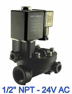 Pa66 Plastic Electric Air Water Solenoid Valve Manual Override 12 Inch 24v Ac