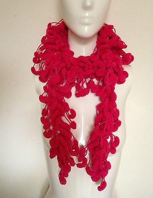 Lovely Scarf Boa (Lovely Handmade Crochet Long Pompom Scarf / Boa / Neck Warmer Hot)