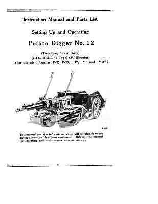Ih Mccormick-deering Farmall No. 12 Pto Potato Diggers Owners Parts Manual
