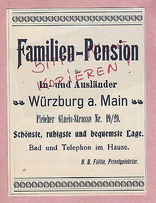 WÜRZBURG/MAIN, Werbung 1900, Familien-Pension H. B. Faltin Privatgelehrter