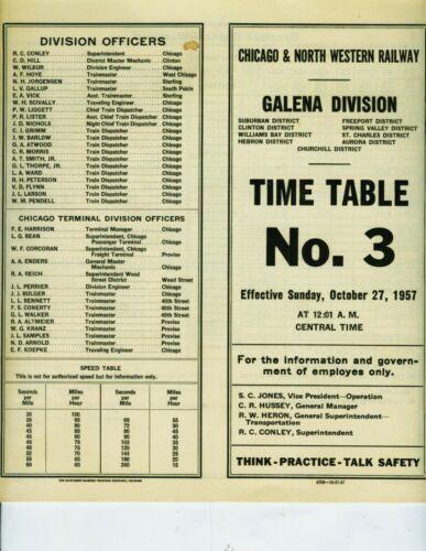 CHICAGO & NORTH WESTERN RAILWAY ETT TIMETABLE GALENA DIVISION #3  10-27-1957.