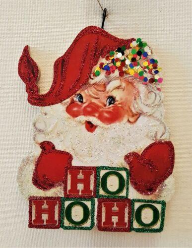 "SANTA CLAUS w/ ""HO HO HO"" TOY BLOCKS * Glitter  CHRISTMAS ORNAMENT * Vtg Img"