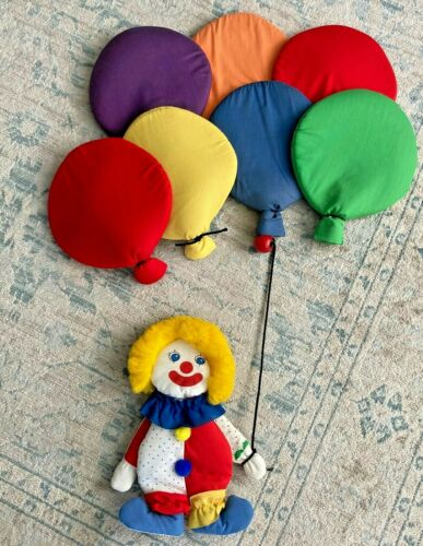 Vintage Clown with Balloons Cloth Fabric Wall Hanging Nursery Kids Room Silgo