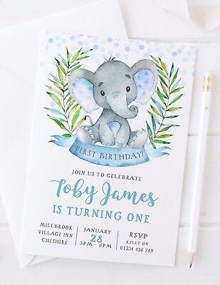 10  Personalised Boys First Birthday Invitations - Cute Elephant (Personalized First Birthday Invitations)