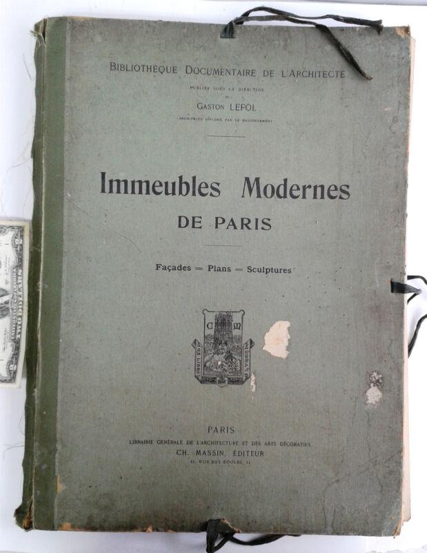 Antique folio Immeubles Modernes de Paris Gaston Lefol Facades Plans Sculpture