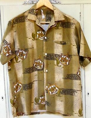 1940s Men's Shirts, Sweaters, Vests VINTAGE 1940S 1950S HAWAIIAN SHIRT TAGGED TROPICANA Men's M Medium HONOLULU $9.99 AT vintagedancer.com