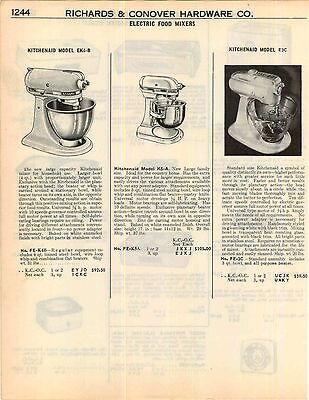 1951 ADVERT 2 PG Kitchenaid Electric Food Mixer 3 Model Images Attachment List