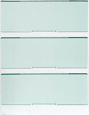 Blank Check Stock Laser Check Paper Checks 3 On A Page Green Diamond 100 Count