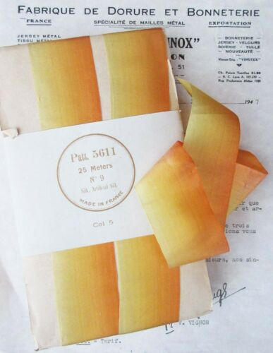 """1 yard Vintage French Yellow Ombre Silk Ribbon Flowers  1 5/8"""""""