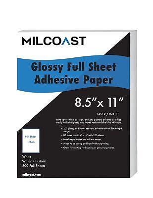 Milcoast Full Sheet 8.5 X 11 Shipping Sticker Paper Adhesive Labels Glossy Wa...