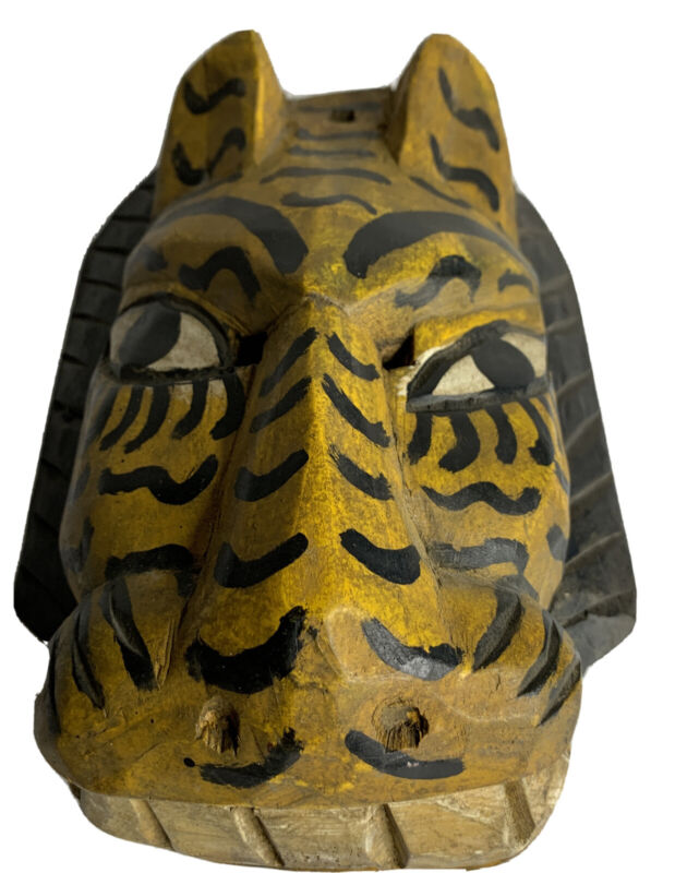 Hand Carved Painted Wood Tribal Art Zebra Mask Wall Hanging