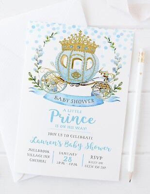 10 PERSONALISED BABY SHOWER INVITATIONS - BLUE LITTLE PRINCE BABY BOY - Little Prince Baby Shower Invitations