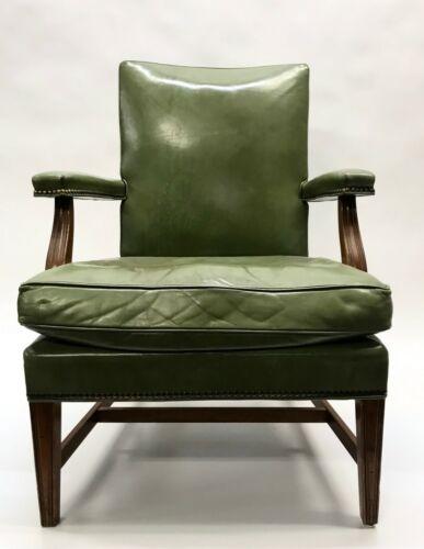 W H Gunlocke Green Leather Office Chair