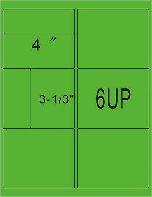 Green 1200 Shipping Address Amazon Fba 6 Per Sheet 6up 4x3.33 200 Sheets