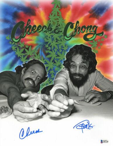 CHEECH AND CHONG SIGNED AUTO 11X14 PHOTO 'UP IN SMOKE' BAS BECKETT COA 368