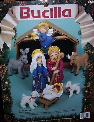Bucilla NATIVITY SET Felt Christmas Kit Set of 9 Pieces Manger Jesus Angel OOP Jesus Felt Set