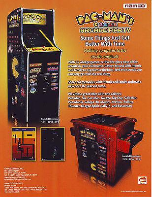 Namco PACMANS ARCADE PARTY Original NOS Video Arcade Game Promo Sales Flyer Adv.