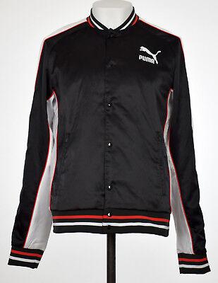 Puma SUPER PUMA Satin Bomber Mens Black Button Up Jacket L XL