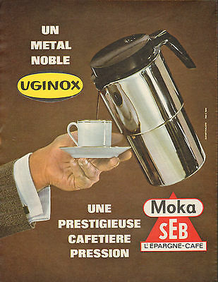 publicit 1964 uginox moka seb cafeti re pression. Black Bedroom Furniture Sets. Home Design Ideas