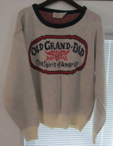 Vintage Old Grand-Dad Bourbon Whiskey Cliff Engle Sweater Mens Small RARE