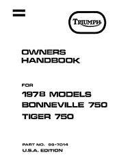 Triumph Owners Manual Book 1978 Bonneville 750 & 1978