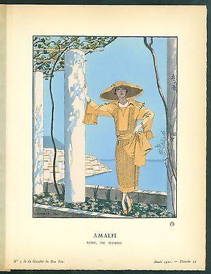 "George Barbier  Gazette du Bon Ton, ""AMALFI Robe, De Worth"""