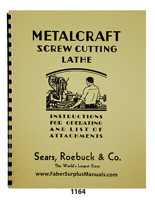 Sears Craftsman Metalcraft Lathe Operation Attachments Manual 1164