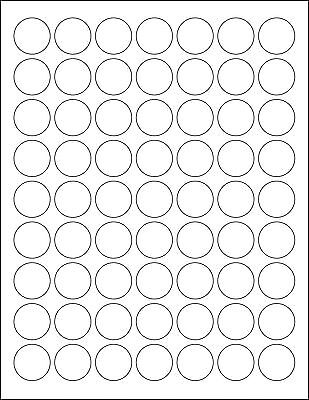 5 SHEETS 1 INCH ROUND BLANK WHITE STICKERS LABELS CUSTOM - 315 TOTAL LABELS - Blank Sticker Sheets