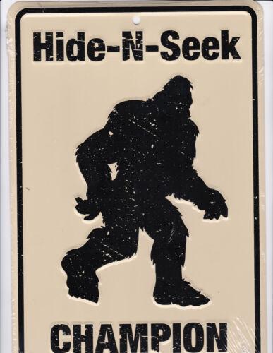 Bigfoot / Sasquatch HIDE AND SEEK CHAMPION 8x12 metal sign for Big Foot fans