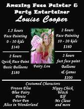 Face Painter $80ph Louise Cooper Southport Gold Coast City Preview