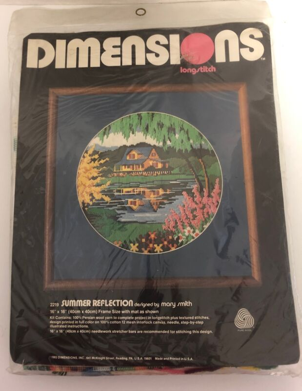 1982 Dimensions SUMMER REFLECTION Longstitch Embroidery Kit NEW Pond E4