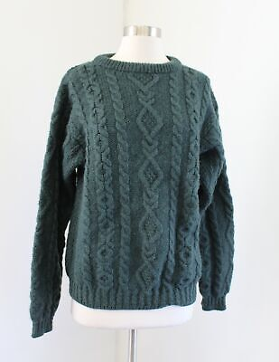 Vtg LL Bean Mens Green Cable Knit Fisherman Wool Pullover Sweater Size S Ireland